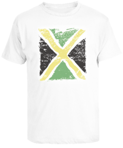 Men's White 'Distressed Flag' Printed Cotton Tee