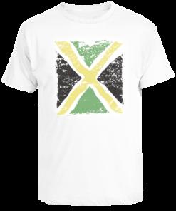 Men's White 'Distressed Flag' Printed Cotton Tee