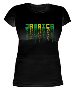 Ladies Black Slim Fit 'Jamaica' Printed Tee
