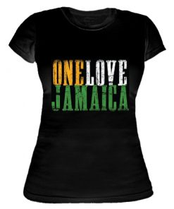 Ladies 'One Love Jamaica' Printed Spandex Jersey Tee