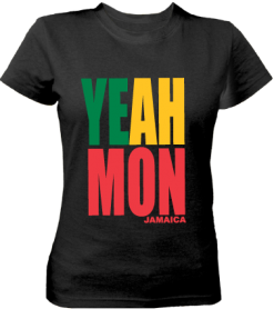 Ladies' Yeah Mon' Printed Black Cotton Tee