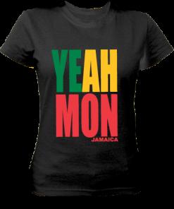 Ladies' Yeah Mon' Printed Black Cotton Tee