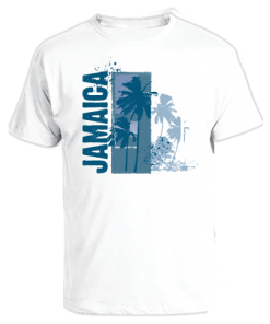 Men's 'Jamaica' White Printed Cotton Tee