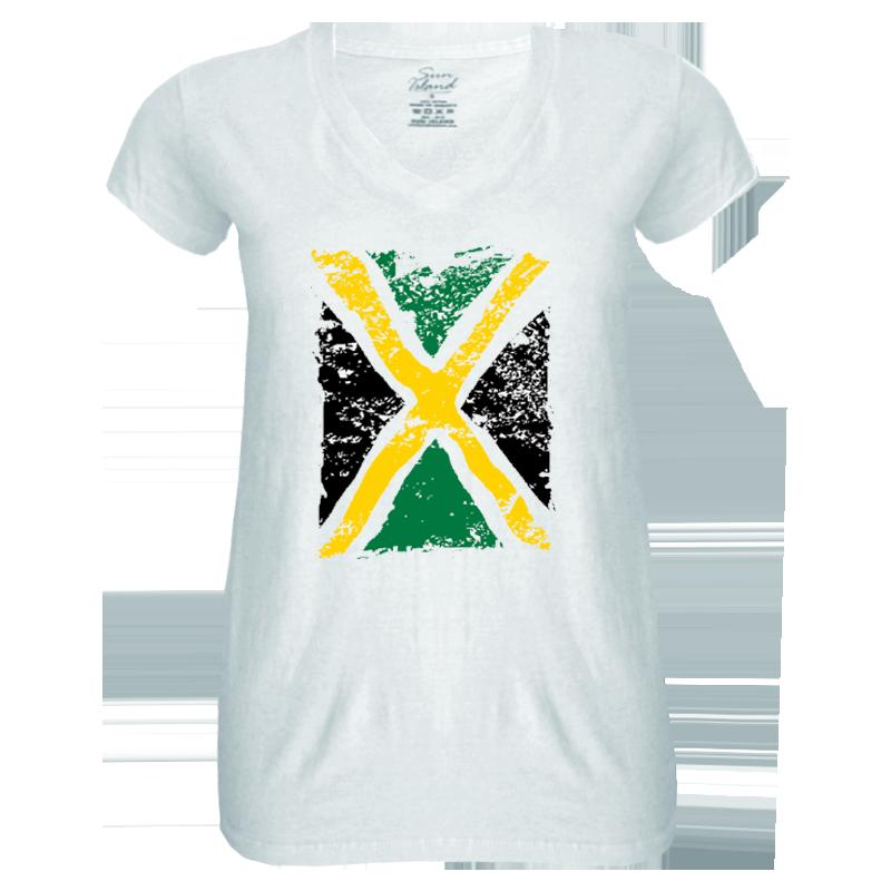 Ladies 'Distressed Jamaica Flag' V-Neck Sheer Jersey Tee