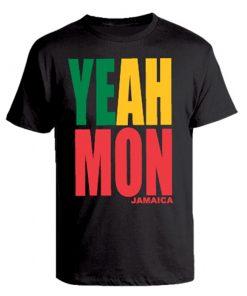 Men's 'Yeah Mon' Printed Black Cotton Tee