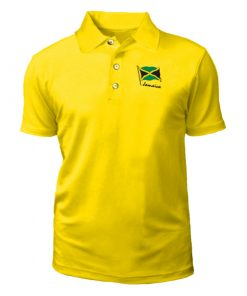 Men's Embroidered Palm Club Yellow Golf Shirt.
