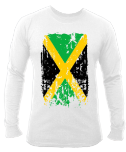 Men's 'Distressed Jamaica Flag' Printed White Long Sleeve Tee