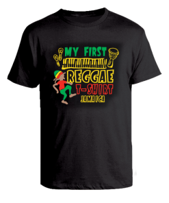 Kid's 'My First Reggae' Printed Black Cotton Tee
