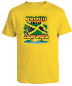 Kids 'Proud to Say Jamaica' Printed Yellow Cotton Tee
