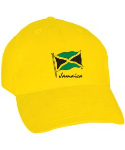 Embroidered 'Jamaica Flag' Adult Yellow Baseball Cap