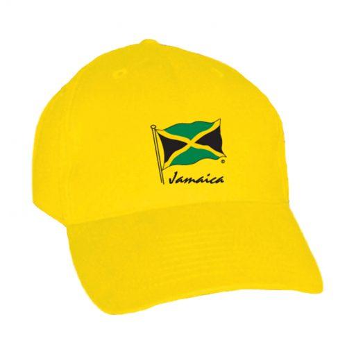 Embroidered 'Jamaica Flag' Adult Yellow Baseball Cap