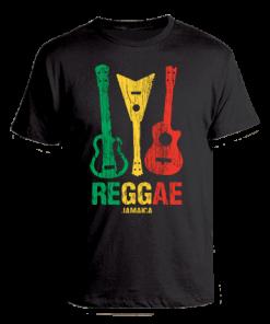 Men's 'Reggae Jamaica' Printed Black Cotton Tee