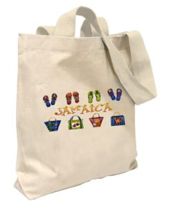 Jamaica 'Footprints' Canvas Tote Bag
