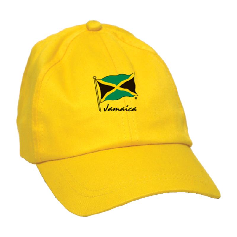 Kids 'Jamaica Flag' Embroidered Brush Cotton Cap