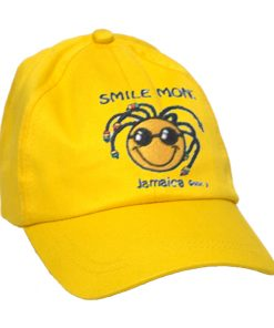 Kid's 'Smile Mon' Embroidered Brush Cotton Yellow Cap
