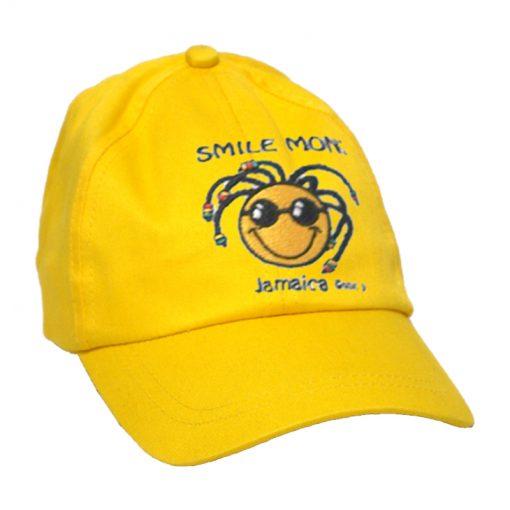 Kid's 'Smile Mon' Embroidered Brush Cotton Yellow Cap