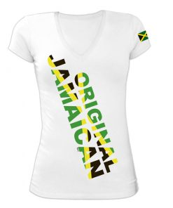 Ladies 'Original Jamaican' White V-neck