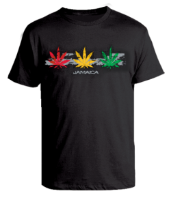 Men's 'Ganja Leaf' Printed Black Cotton Tee