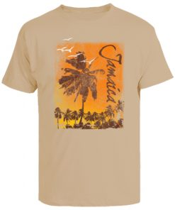 Men's 'Resort Wear' Khaki Printed Cotton Tee