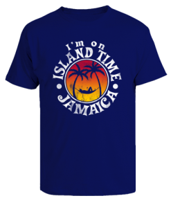 Men's 'I'm on Island Time' Printed Nay Blue Cotton Tee
