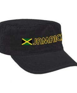 Embroidered 'Jamaica Wear' Black Military Cap