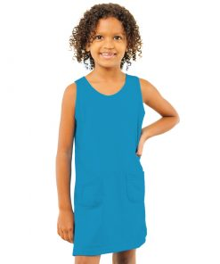 Girls Jersey Turquoise Tank Dress With Pockets