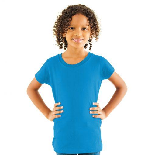 Girls Turquoise Cotton T-shirt
