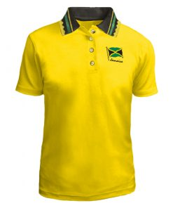 Ladies 'Jamaica Flag' Embroidered Jacquard Golf Shirt