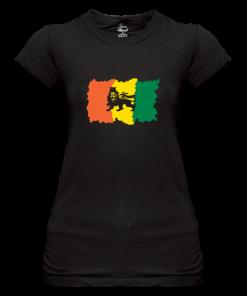 Ladies' Lion of Judah' black Printed Sheer Jersey T-shirt