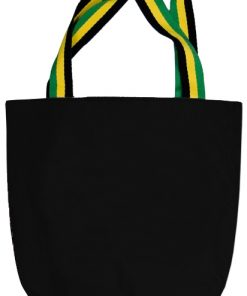 Black Canvas Tote Bag With Striped Handles
