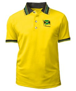 Men's 'Jamaica Flag' Embroidered Jacquard Golf Shirt.