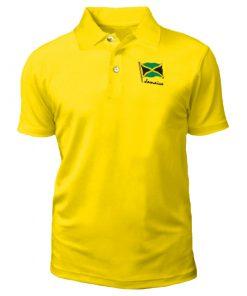 Kid's 'Jamaica Flag' Embroidered Yellow Golf Shirt