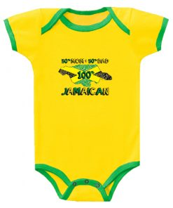 Baby 100% Jamaican' Printed Yellow Romper