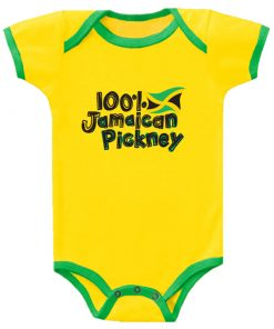 Baby '100% Jamaican Pickney' Printed Yellow Romper
