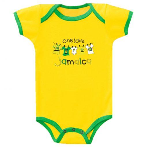 Baby 'One Love Jamaica' Yellow Romper