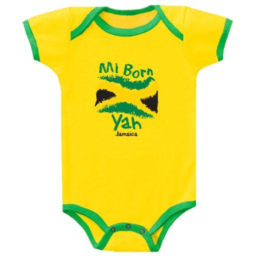 Baby 'Mi Born Yah' Printed Yellow Romper.