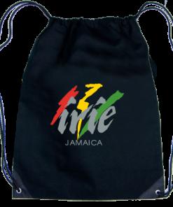 'Irie Jamaica' Printed Black Drawstring Knapsack
