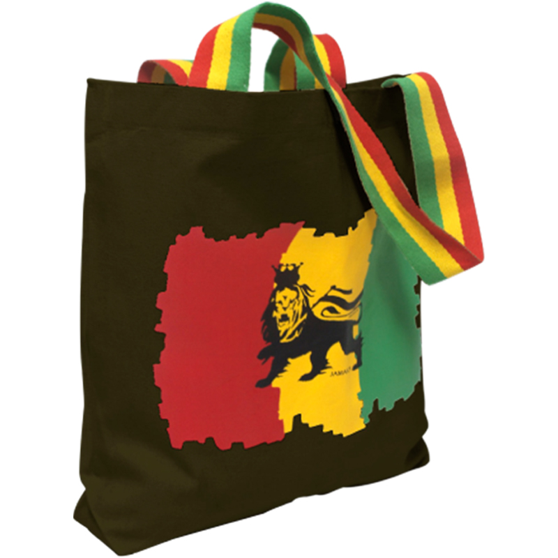 'Lion of Judah' Printed Tote Bag w/ Stripe Handles