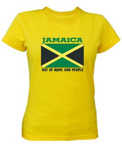 Ladies 'Jamaica Flag' Crew-neck Yellow T-shirt.