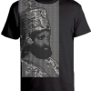 Men's 'Hail Selassie' Printed Black Cotton Tee
