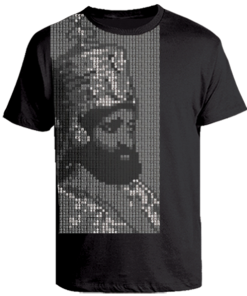 Men's 'Hail Selassie' Printed Black Cotton Tee
