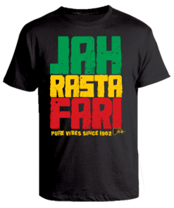 Men's 'Jah Rastafari' Printed Cotton Tee