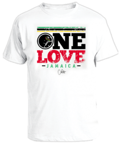 men's one love white printed t-shirt