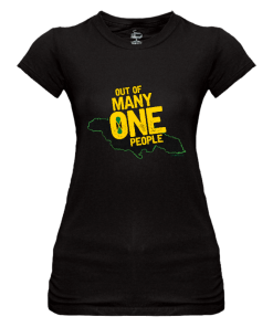 Ladies 'Out of Many' black crew neck t-shirt