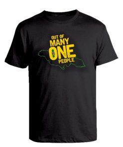 Men's 'Out of Many' black printed cotton t-shirt