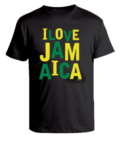 Kid's 'I Love Jamaica' black printed cotton t-shirt