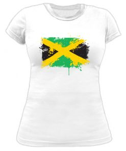 Ladies 'Painted Jamaican Flag' t-shirt
