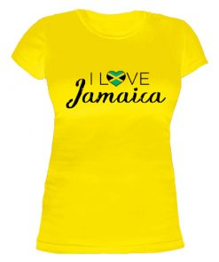 yellow ' I love jamaica' printed t-shirt