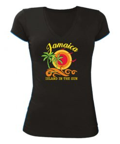 black printed v-neck t-shirt