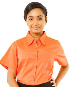orange short sleeve twill shirt